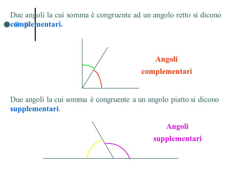 Due angoli la cui somma è congruente ad un angolo retto si dicono complementari.