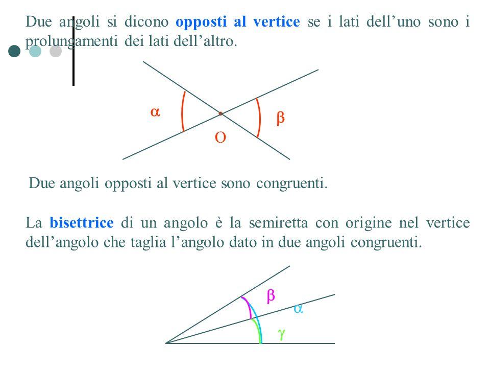 Due angoli si dicono opposti al vertice se i lati dell'uno sono i prolungamenti dei lati dell'altro.
