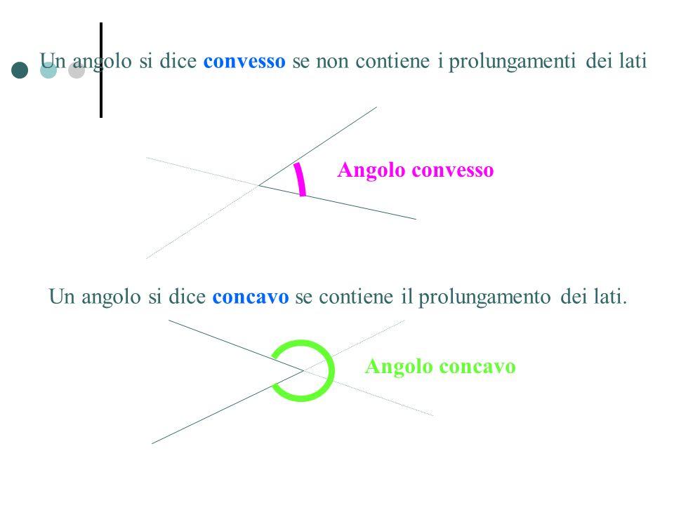 Un angolo si dice concavo se contiene il prolungamento dei lati.