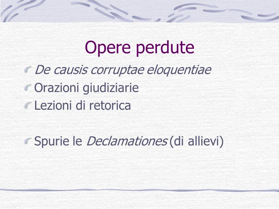 Opere perdute De causis corruptae eloquentiae Orazioni giudiziarie