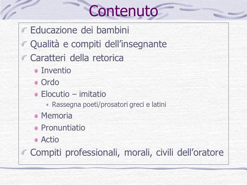 Contenuto Educazione dei bambini Qualità e compiti dell'insegnante