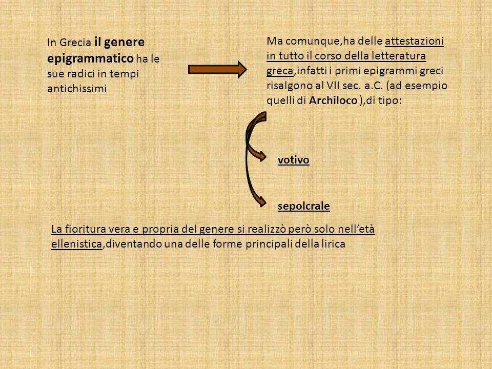 In Grecia il genere epigrammatico ha le sue radici in tempi antichissimi