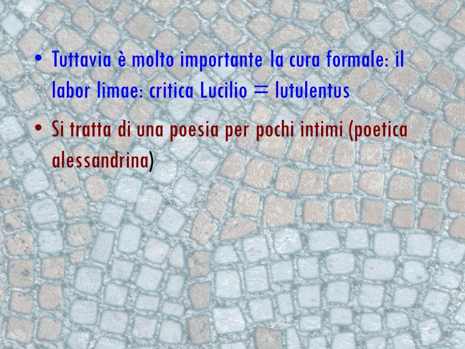 Tuttavia è molto importante la cura formale: il labor limae: critica Lucilio = lutulentus