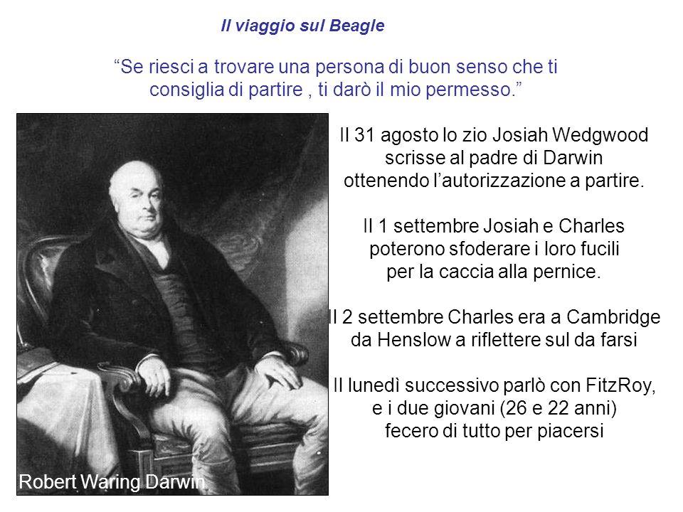 Il 31 agosto lo zio Josiah Wedgwood scrisse al padre di Darwin