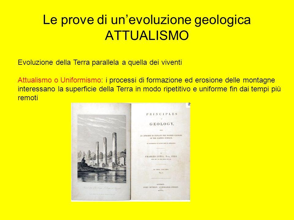 Le prove di un'evoluzione geologica ATTUALISMO