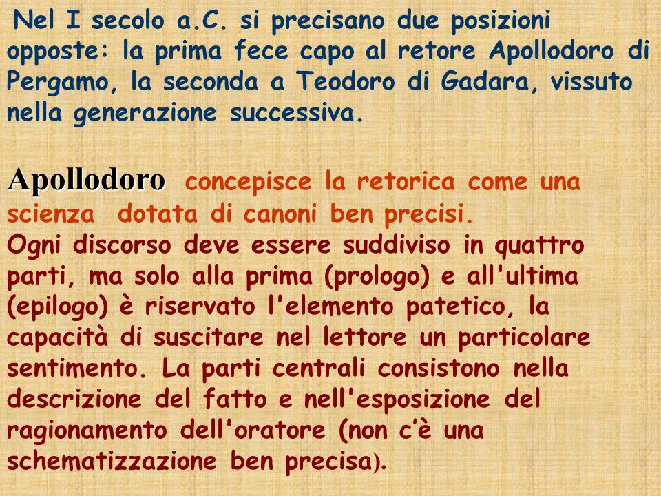 Nel I secolo a.C. si precisano due posizioni opposte: la prima fece capo al retore Apollodoro di Pergamo, la seconda a Teodoro di Gadara, vissuto nella generazione successiva.