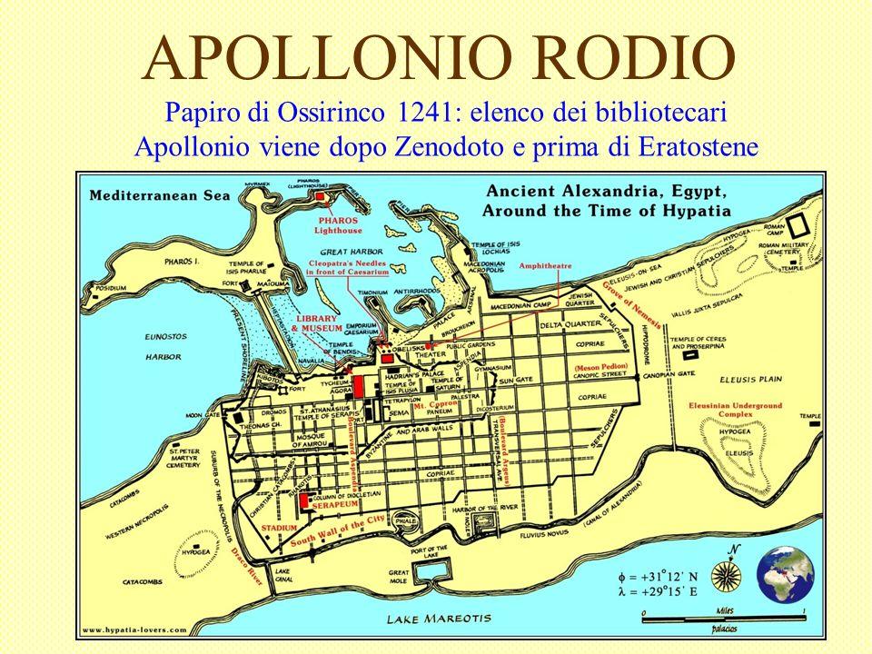 APOLLONIO RODIO Papiro di Ossirinco 1241: elenco dei bibliotecari