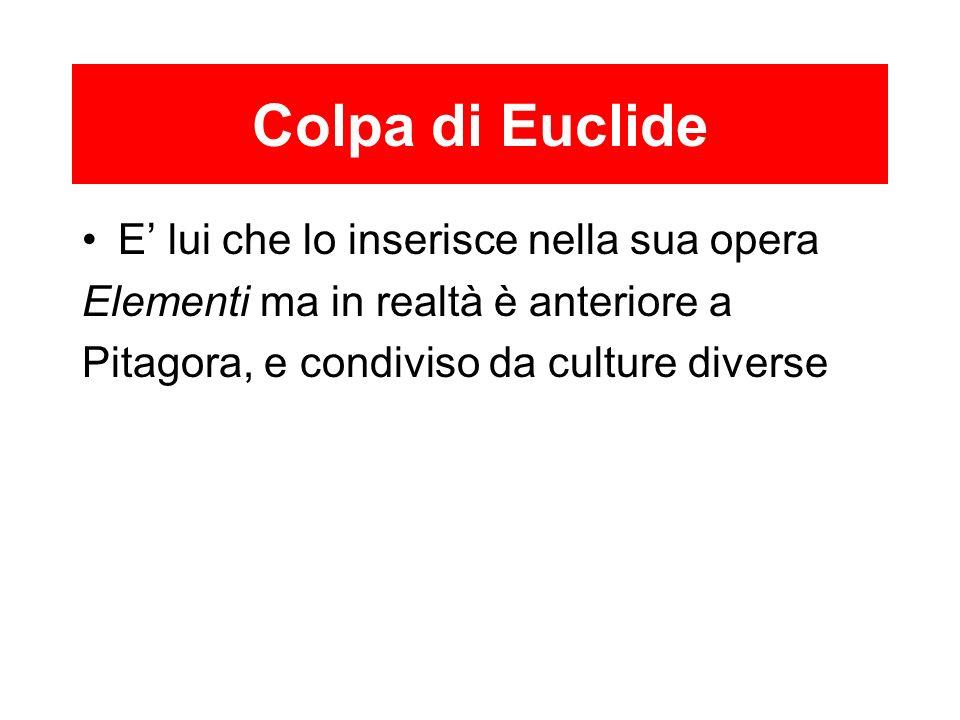 Colpa di Euclide E' lui che lo inserisce nella sua opera