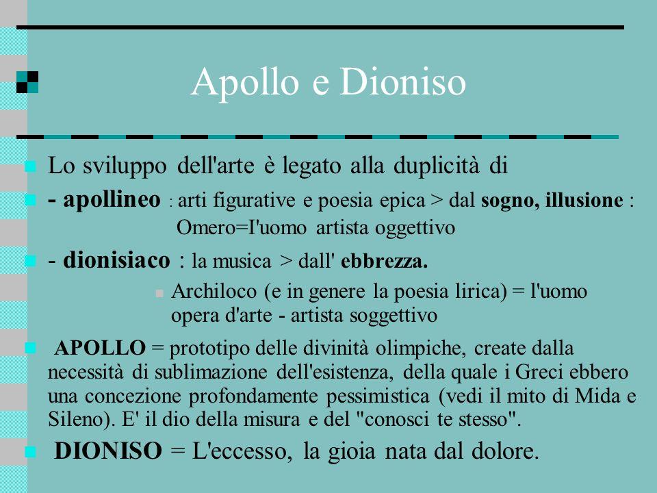 Apollo e Dioniso Lo sviluppo dell arte è legato alla duplicità di