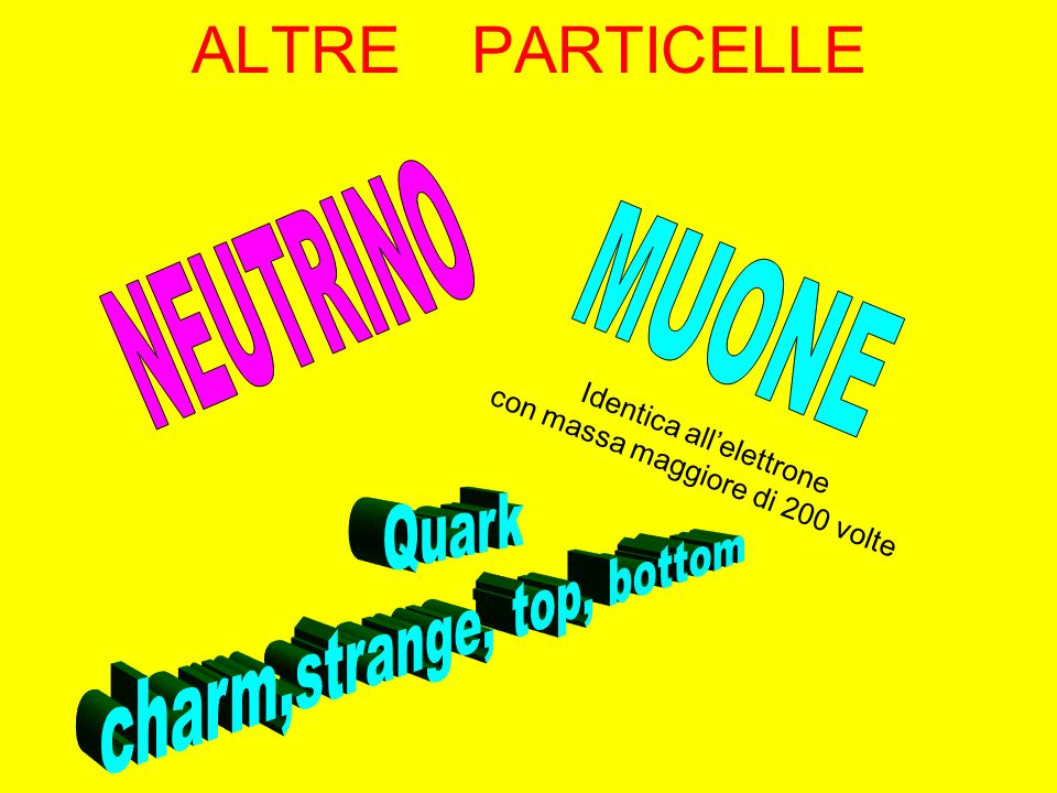 ALTRE PARTICELLE NEUTRINO MUONE Quark charm,strange, top, bottom