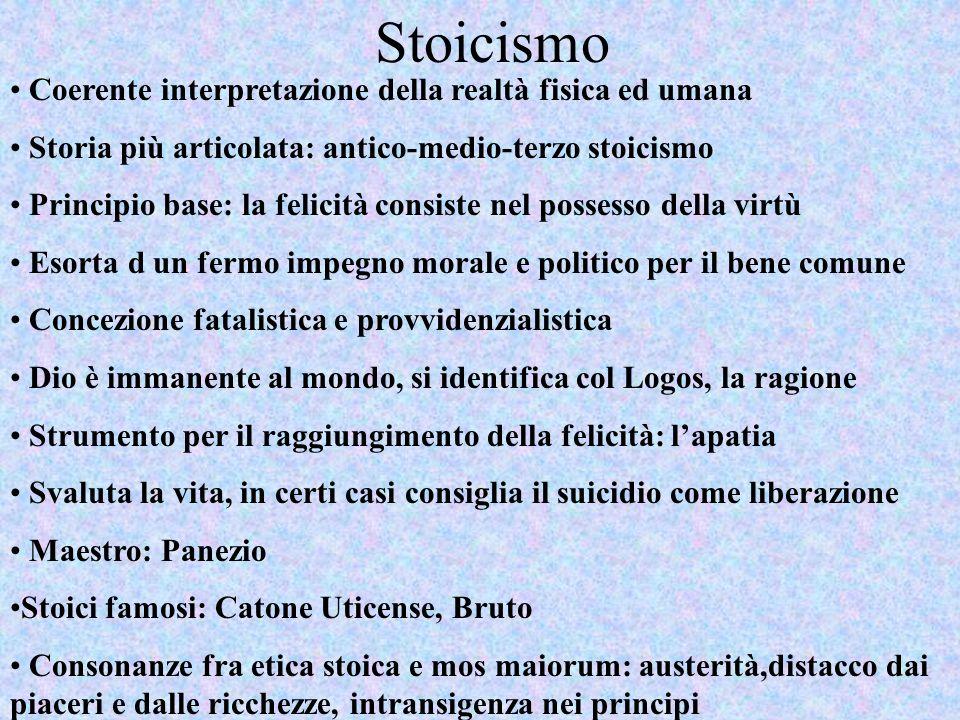 Stoicismo Coerente interpretazione della realtà fisica ed umana