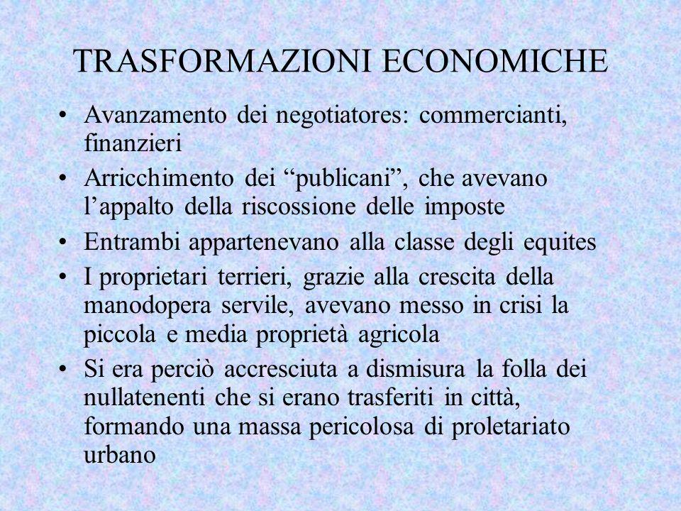 TRASFORMAZIONI ECONOMICHE