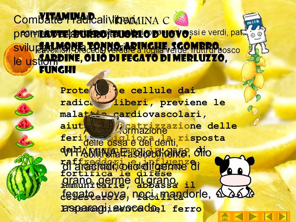 VITAMINA C agrumi, pomodori, fragole, meloni, peperoni rossi e verdi, patate, cavolfiori, broccoli, verdure a foglia verde, frutti di bosco
