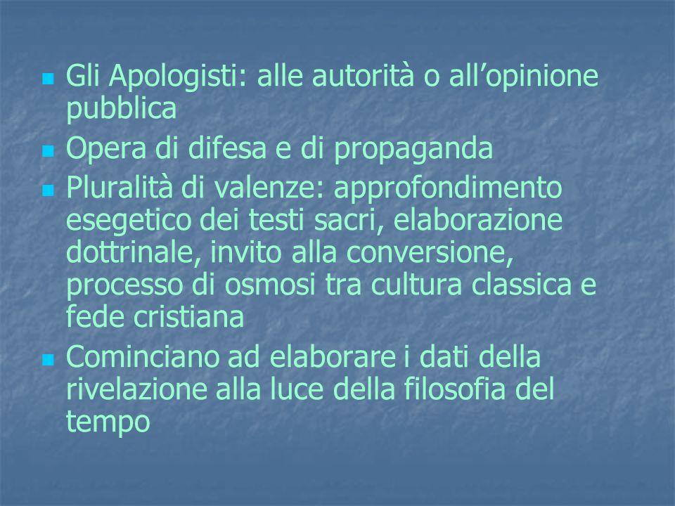 Gli Apologisti: alle autorità o all'opinione pubblica