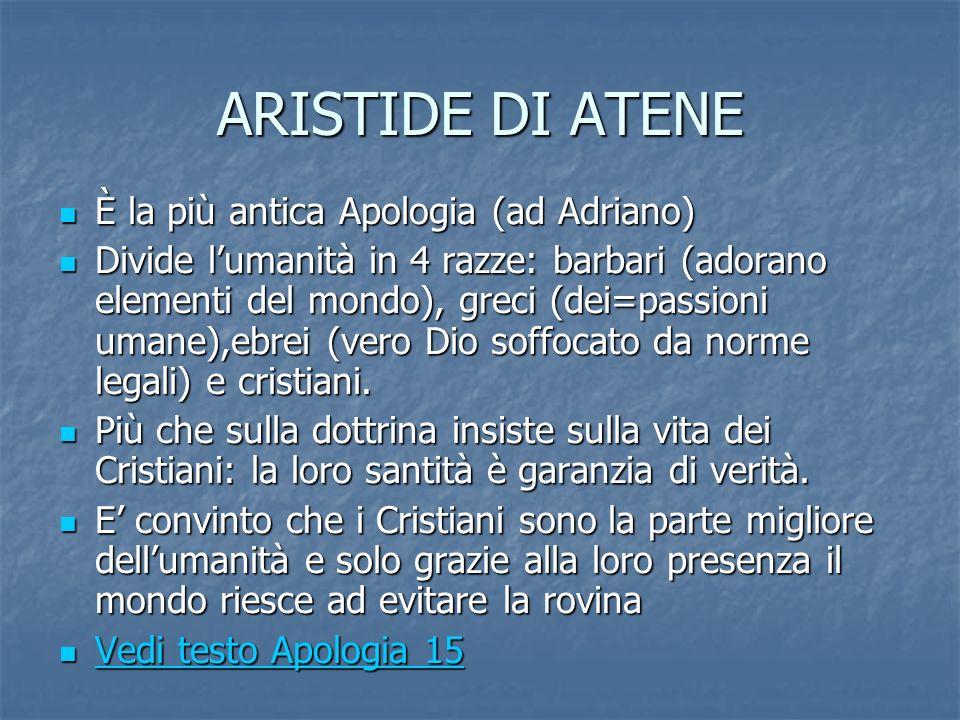 ARISTIDE DI ATENE È la più antica Apologia (ad Adriano)