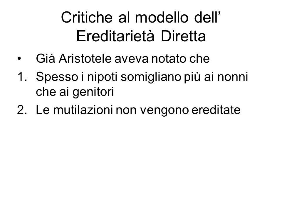 Critiche al modello dell' Ereditarietà Diretta