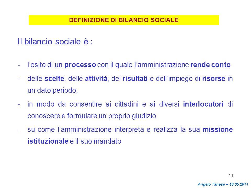 DEFINIZIONE DI BILANCIO SOCIALE
