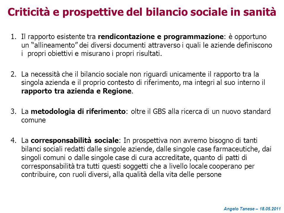 Criticità e prospettive del bilancio sociale in sanità