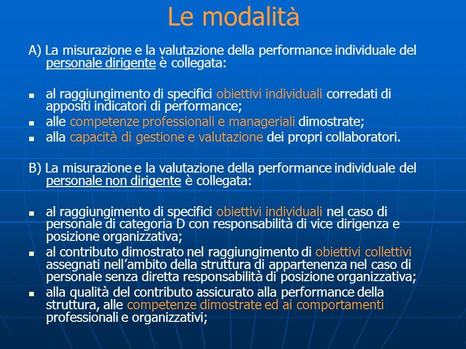 Le modalità A) La misurazione e la valutazione della performance individuale del personale dirigente è collegata: