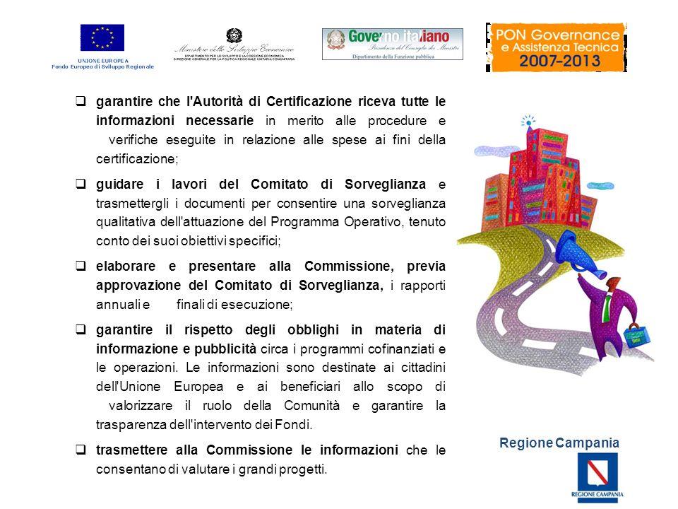garantire che l Autorità di Certificazione riceva tutte le informazioni necessarie in merito alle procedure e verifiche eseguite in relazione alle spese ai fini della certificazione;