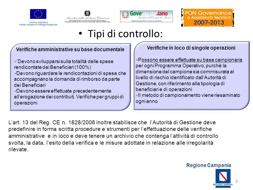 Tipi di controllo: I controlli in corso di gestione. Verifiche amministrative su base documentale.