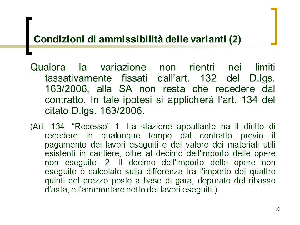 Condizioni di ammissibilità delle varianti (2)