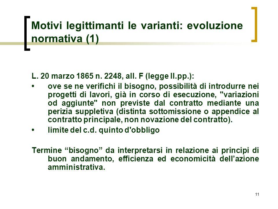 Motivi legittimanti le varianti: evoluzione normativa (1)