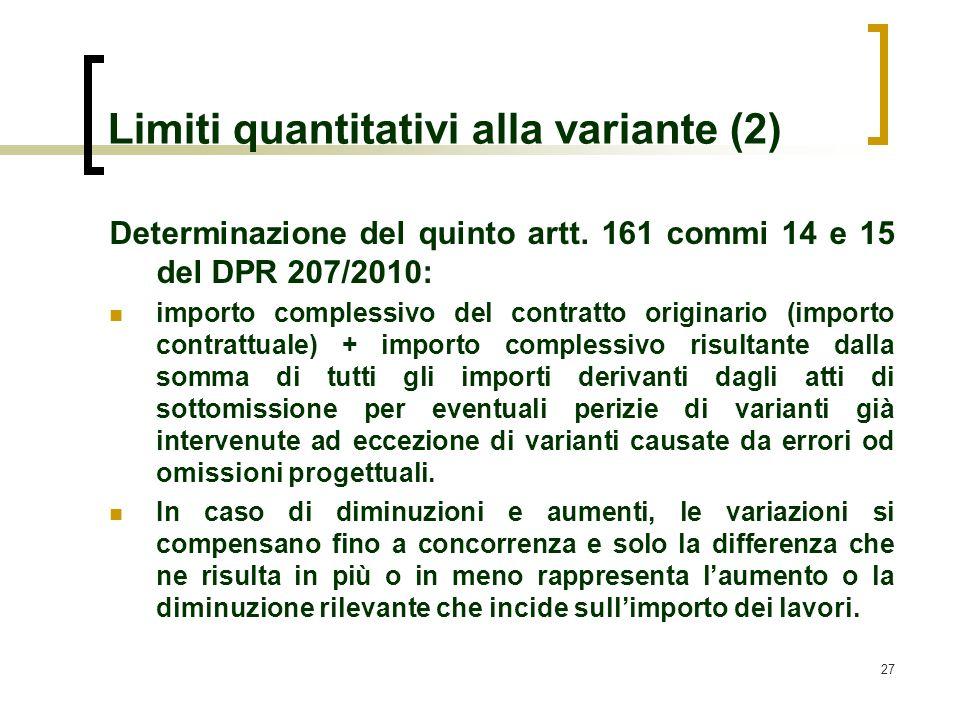 Limiti quantitativi alla variante (2)