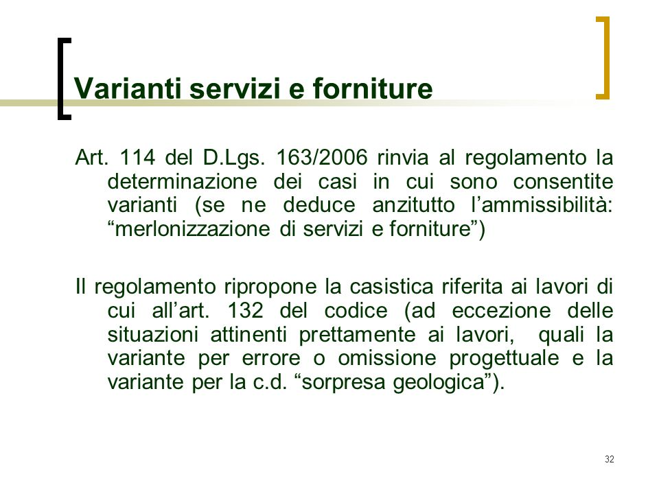 Varianti servizi e forniture