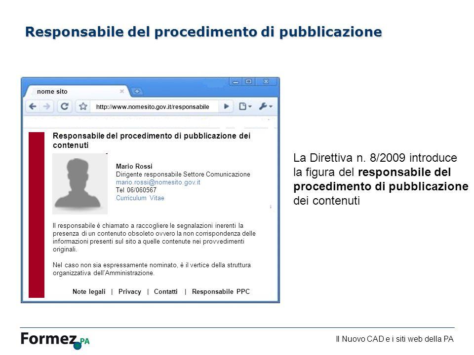 Responsabile del procedimento di pubblicazione