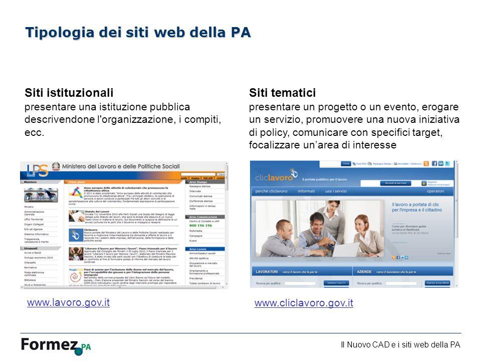 Tipologia dei siti web della PA