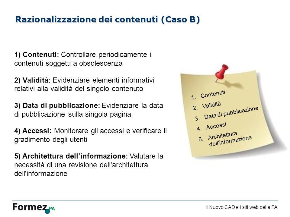 Razionalizzazione dei contenuti (Caso B)
