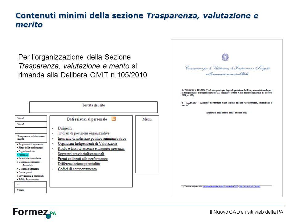 Contenuti minimi della sezione Trasparenza, valutazione e merito