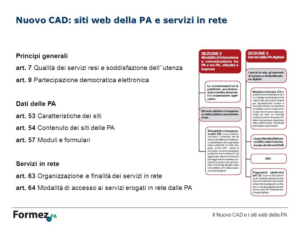 Nuovo CAD: siti web della PA e servizi in rete