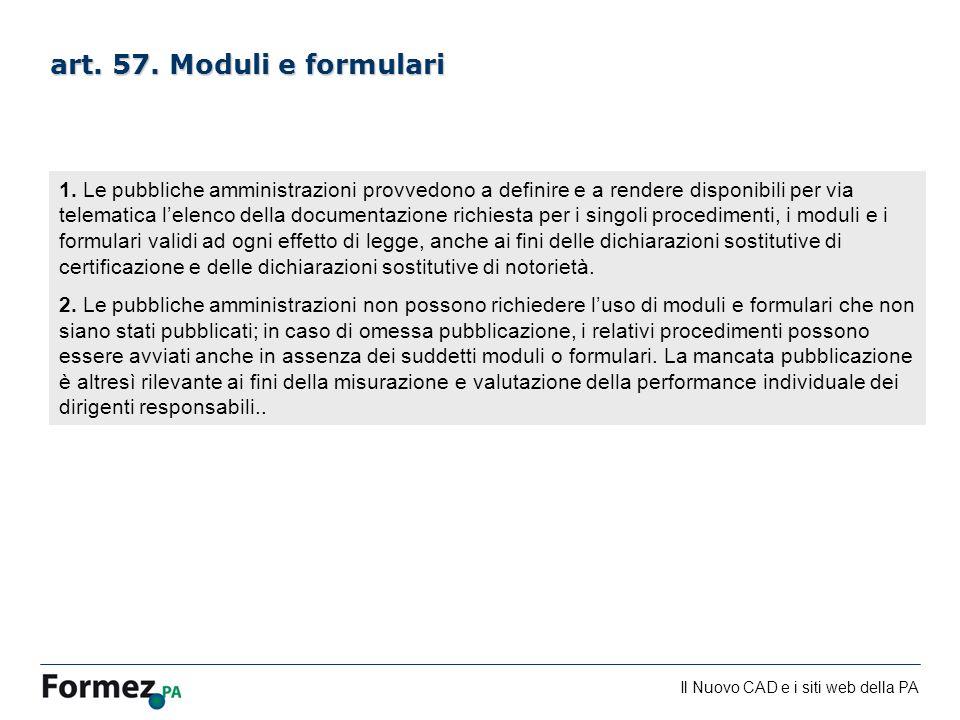 art. 57. Moduli e formulari