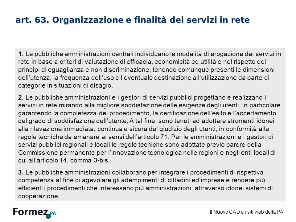 art. 63. Organizzazione e finalità dei servizi in rete