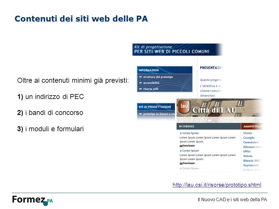 Contenuti dei siti web delle PA