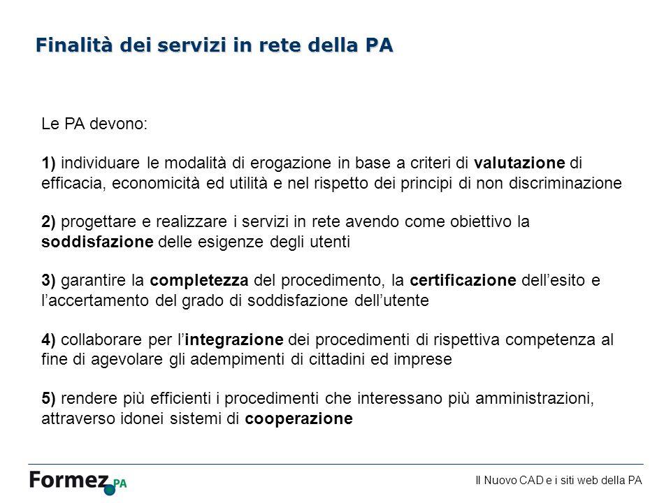 Finalità dei servizi in rete della PA