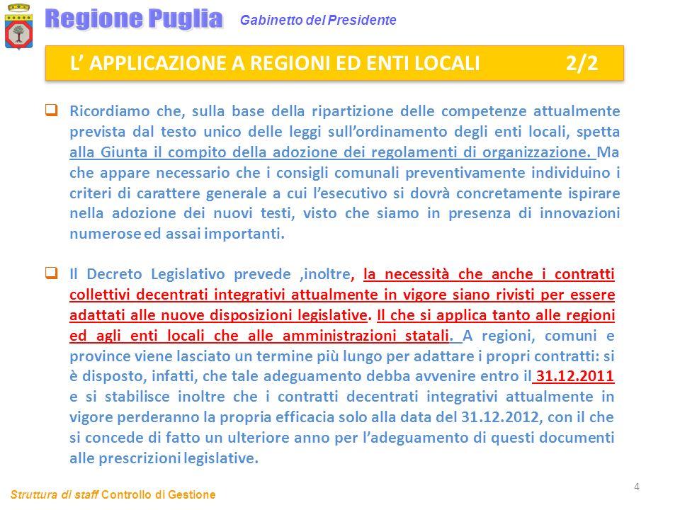 L' APPLICAZIONE A REGIONI ED ENTI LOCALI 2/2