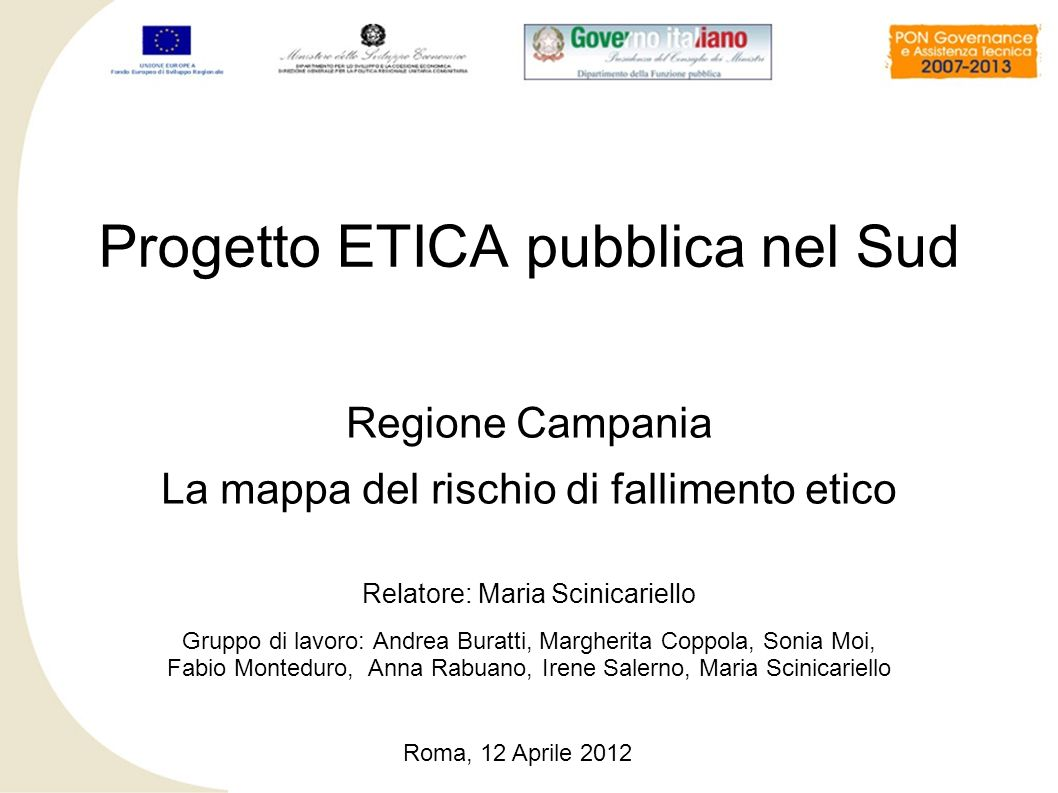 Progetto ETICA pubblica nel Sud
