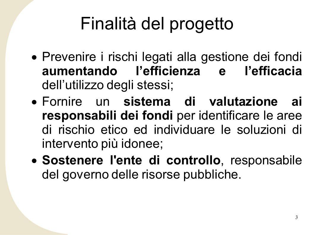 Finalità del progetto Prevenire i rischi legati alla gestione dei fondi aumentando l'efficienza e l'efficacia dell'utilizzo degli stessi;