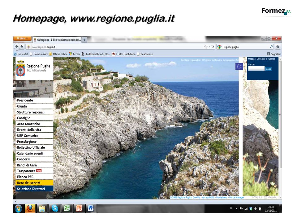 Homepage, www.regione.puglia.it