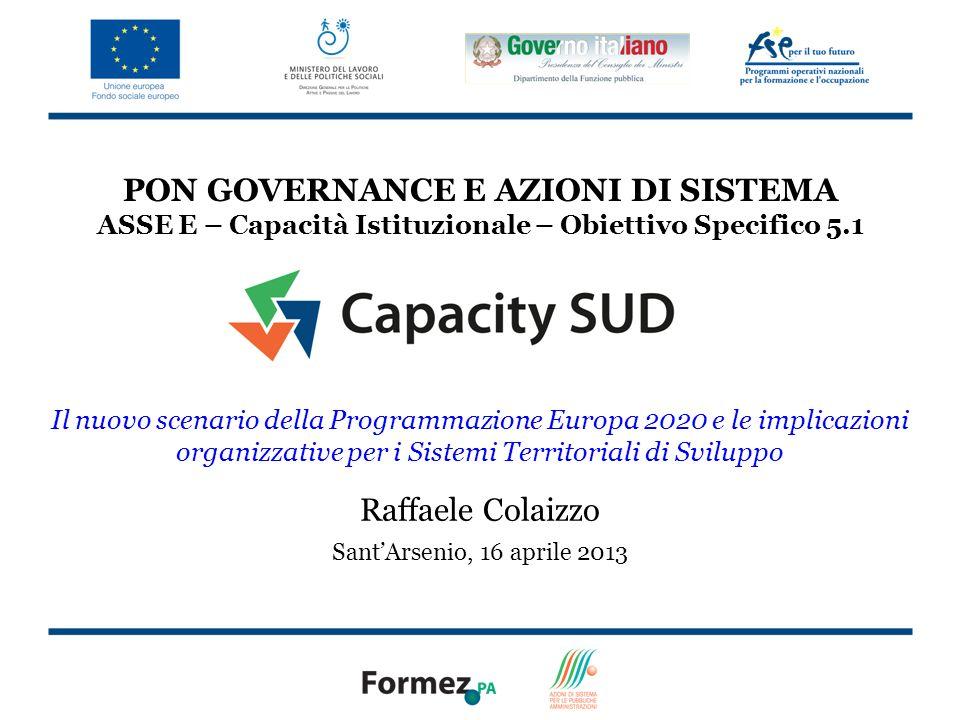 PON GOVERNANCE E AZIONI DI SISTEMA ASSE E – Capacità Istituzionale – Obiettivo Specifico 5.1