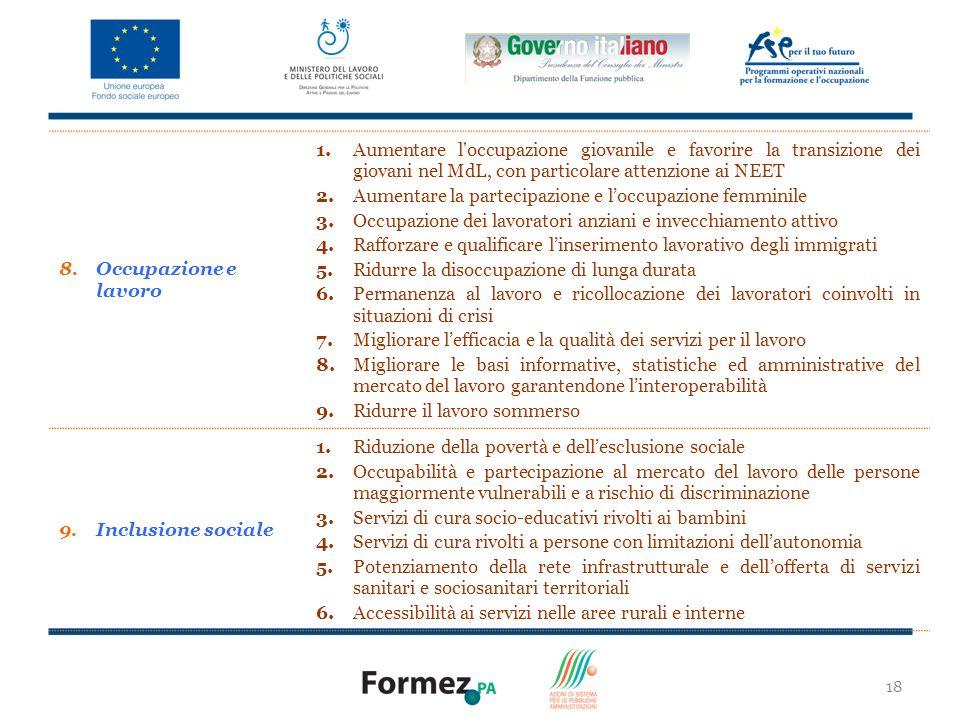 2. Aumentare la partecipazione e l'occupazione femminile