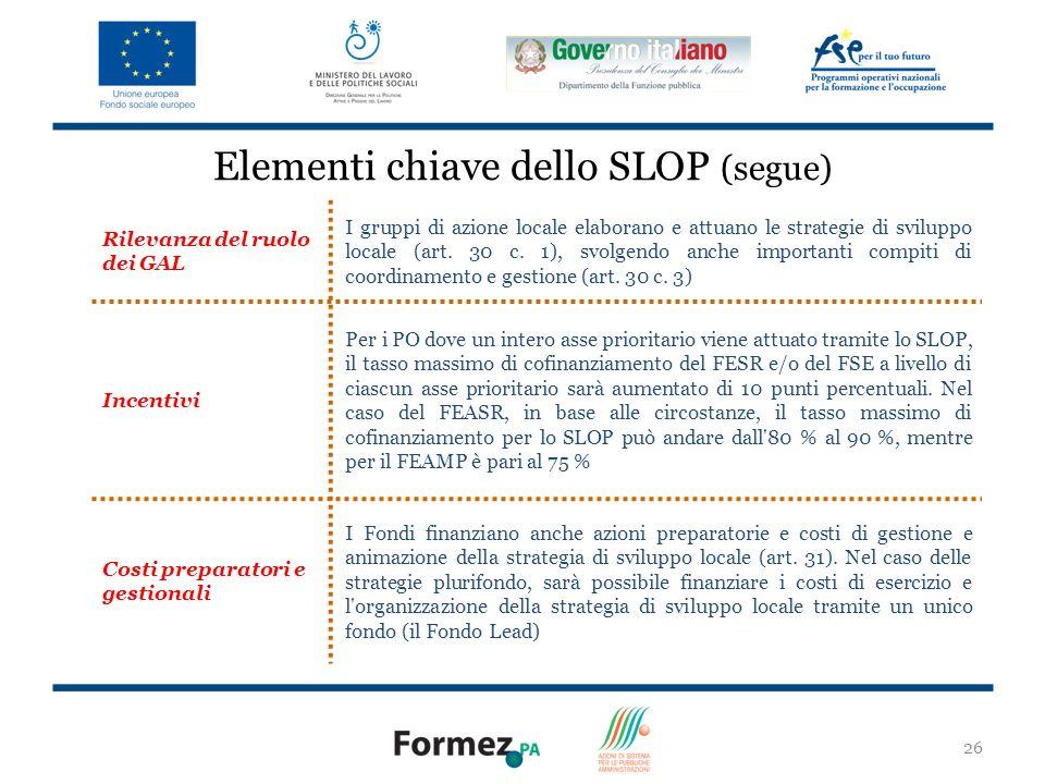 Elementi chiave dello SLOP (segue)