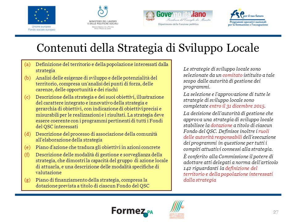 Contenuti della Strategia di Sviluppo Locale