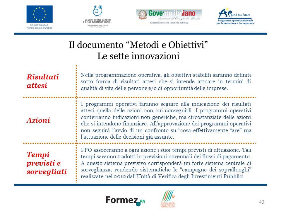 Il documento Metodi e Obiettivi