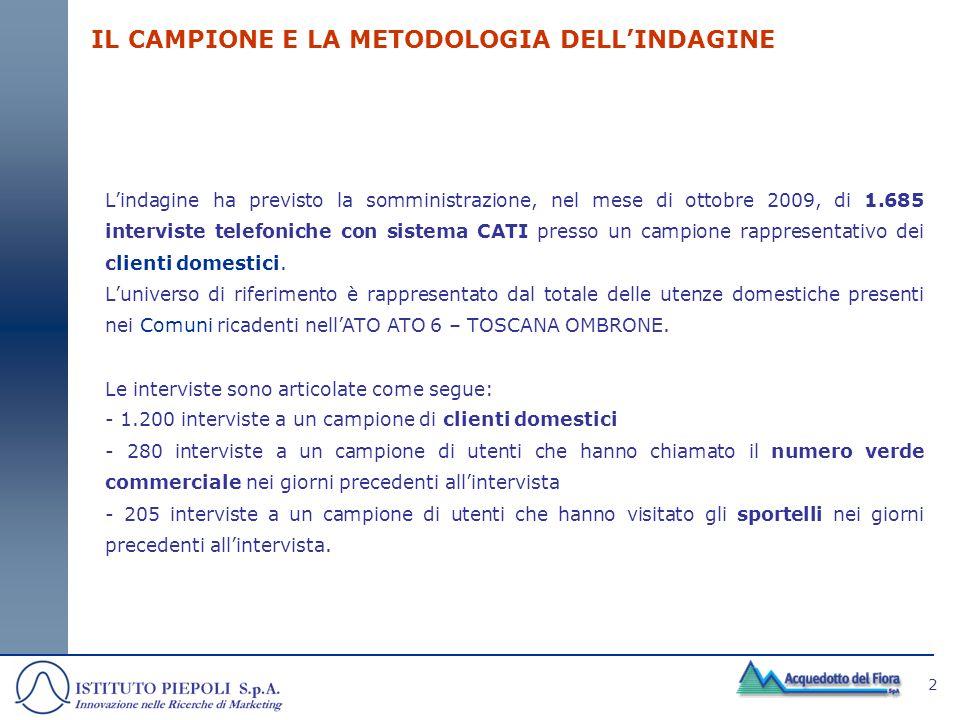 IL CAMPIONE E LA METODOLOGIA DELL'INDAGINE