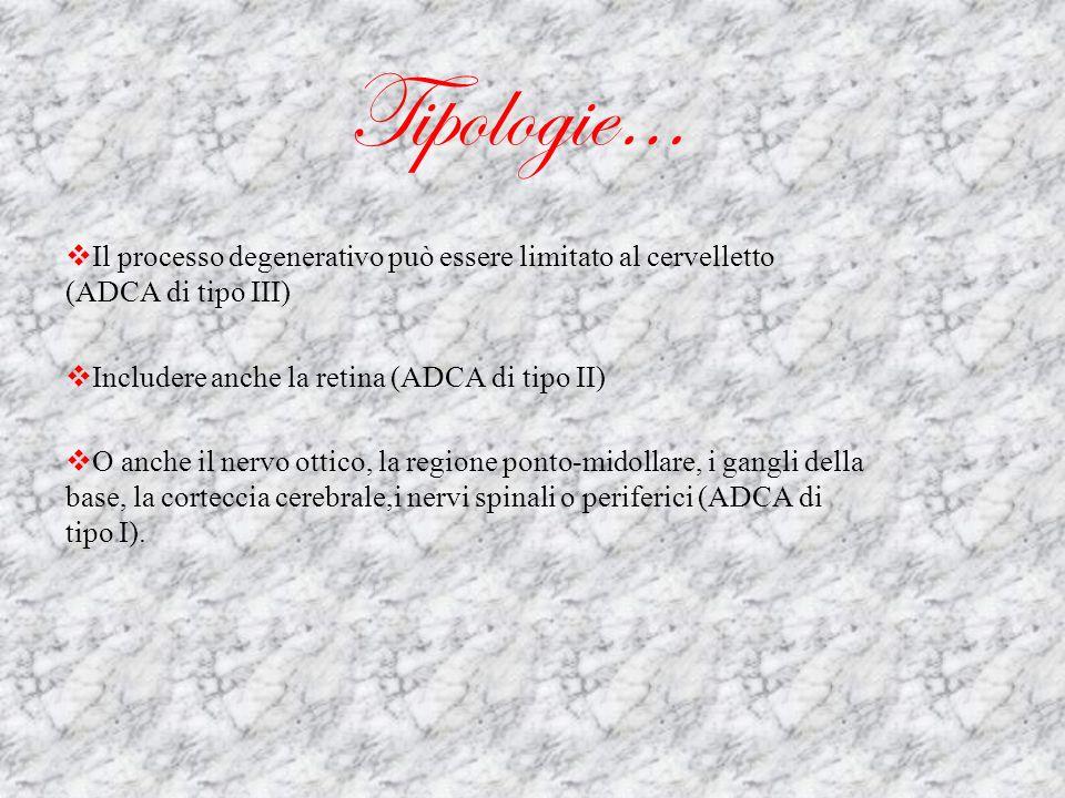 Tipologie… Il processo degenerativo può essere limitato al cervelletto (ADCA di tipo III)