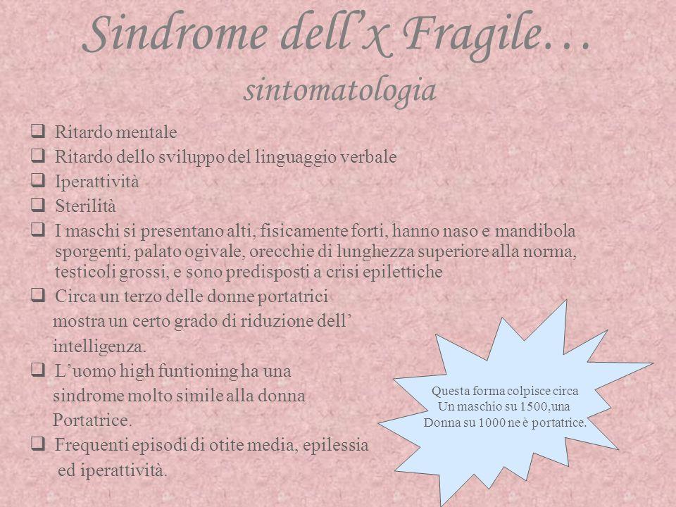 Sindrome dell'x Fragile… sintomatologia